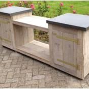 Buitenkeuken bouwtekening om zelf te maken van steigerhout for Eigen keuken bouwen