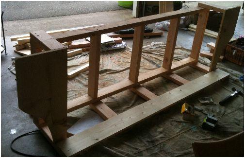Bouwtekening voor een tuinschommel van steigerhout for Bankje steigerhout zelf maken