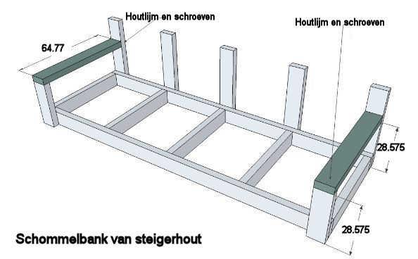 Steigerhouten Hoekbank Werktekening  Tuinbank maken met steigerbuizen en steigerhout gratis