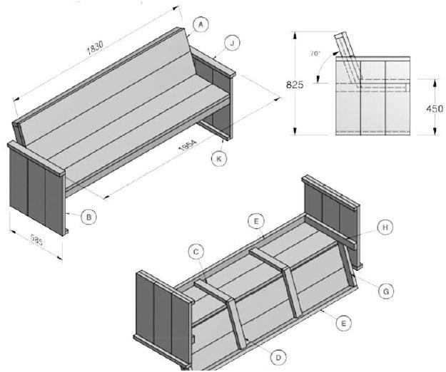 Bouwtekeningen voor tuinbanken steigerhout en pallets for Houten bankje steigerhout