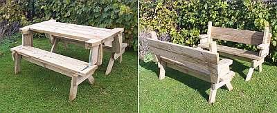 Picknicktafel bestaande uit twee tuinbankjes.