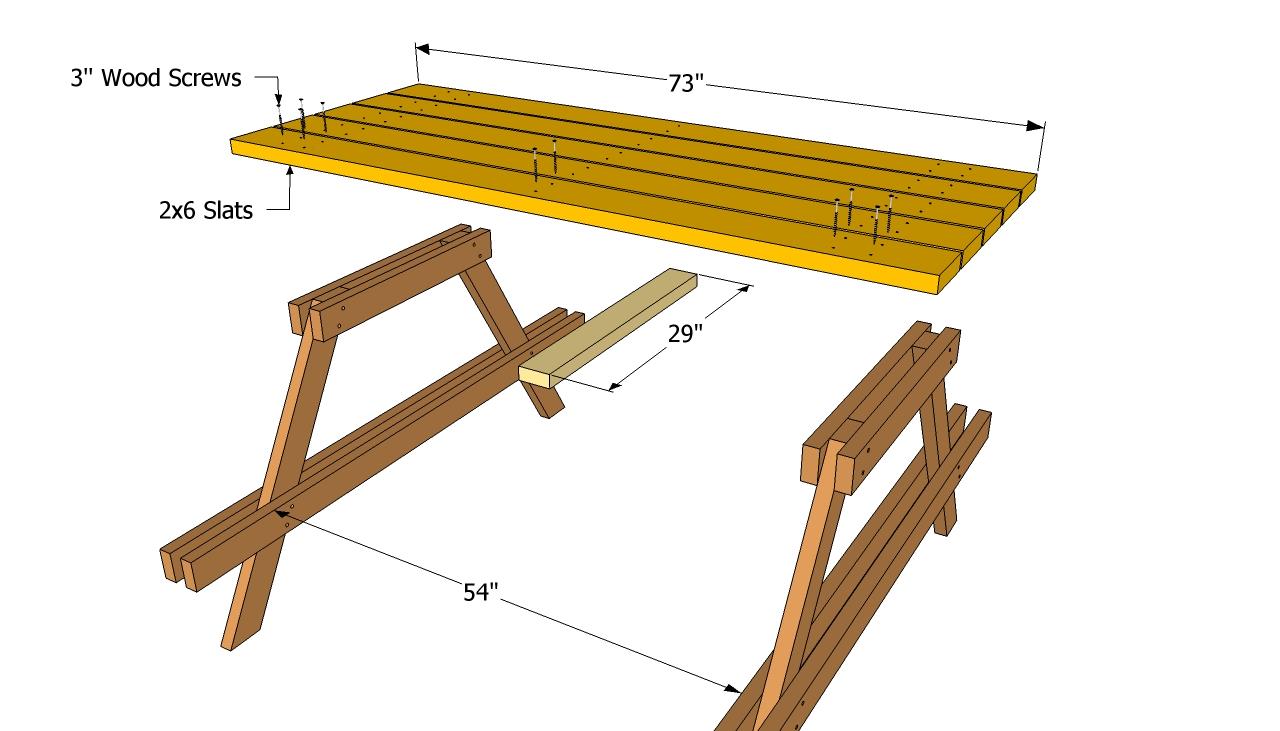 Montage van een houten picknicktafel om zelf te maken.
