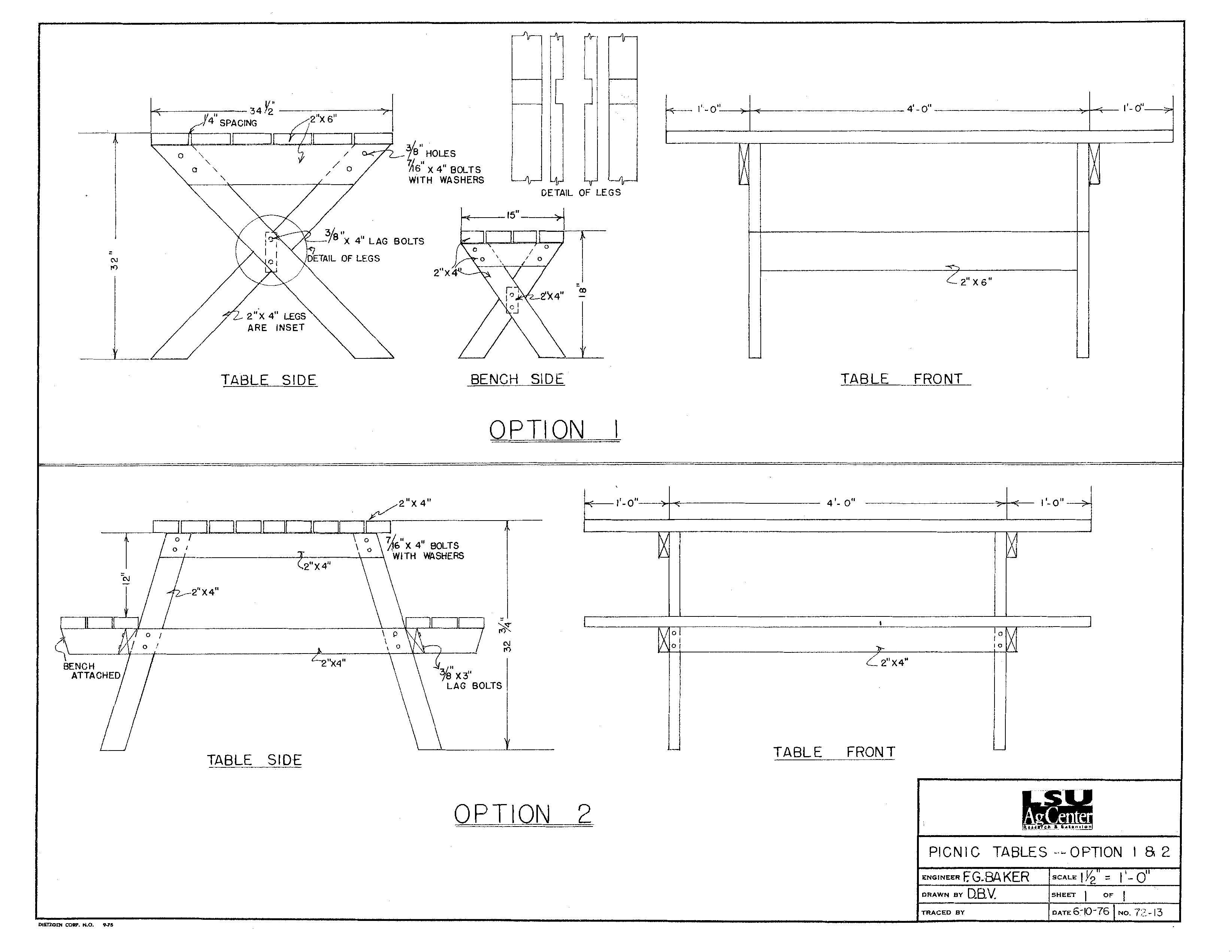 Picknicktafel bouwtekeningen rechthoekige houten tuintafels for Bouwtekening tafel