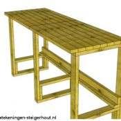 Bouwtekening picknicktafels steigerhout pallets en buizen for Pallet tafel zelf maken