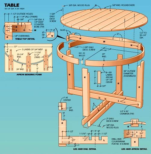 Bouwtekeningen, ronde picknicktafel zelf maken