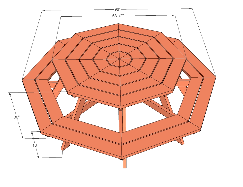 Bouwtekeningen ronde picknicktafel zelf maken for Table design 3 metres