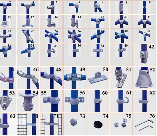 Koppelingen voor steigerbuizen van verschillende diktes, T-stukken en ...