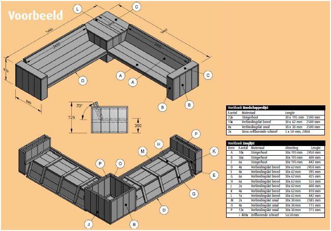 Steigerhouten loungebank bouwtekening en voorbeelden van for Praxis tuinmeubelen