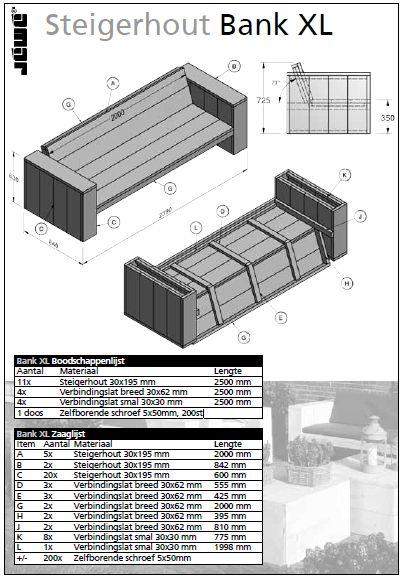 Steigerhouten bank bouwtekening