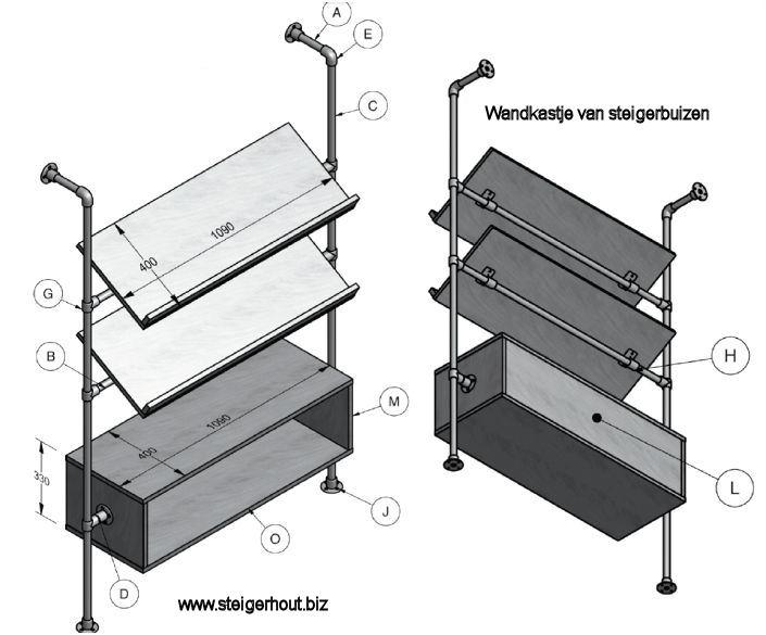 Steigerhouten Keuken Tekeningen : Steigerhout bouwtekening gratis voorbeelden voor een kapstok statafel