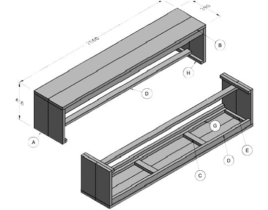 Steigerhout tuinbank zelf maken 3 gratis bouwtekeningen for Houten bankje steigerhout