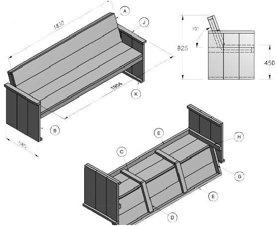 Steigerhout tuinbank zelf maken, 3 gratis bouwtekeningen