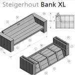 Steigerhout loungebank bouwtekening.