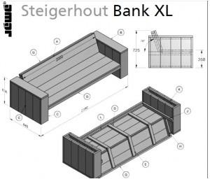 Loungeset tuinmeubelen steigerhout loungebank hoekbank for Loungeset steigerhout zelf maken