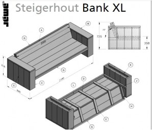 Tuinset Steigerhout Bouwtekening.Loungeset Tuinmeubelen Steigerhout Loungebank Hoekbank