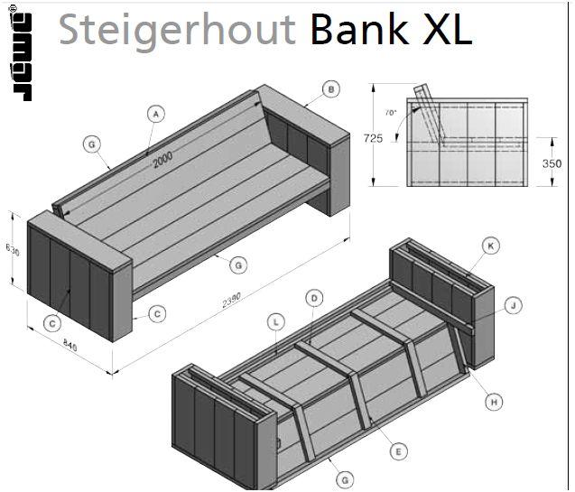 Bouwtekening voor een loungebank van steigerplanken for Foto op hout maken eigen huis en tuin