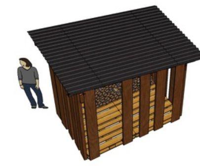 Tuinhuisje, openhaard hok om van pallets te maken. Gratis 3D tekening.
