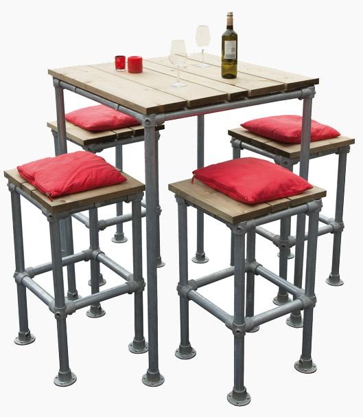 Hoge Bartafel Keuken : Barkruk en hoge tafels voor barkrukken om van steigerbuis te maken.