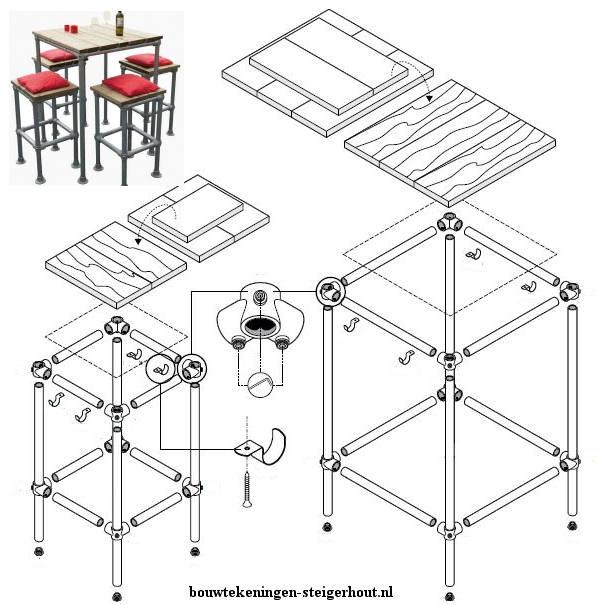 Gratis voorbeeld op bouwtekening hoe je zelf barkrukken en tafels kunt maken met steigerhout steigerbuis en buisverbinders.