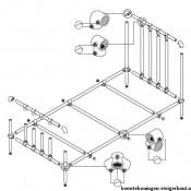 Steigerbuis bed maken, gratis bouwtekening met montagevoorbeeld.