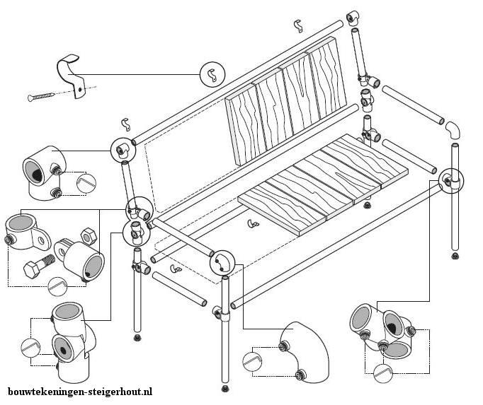 Gratis bouwtekening om een tuinbasnkje te maken van steigerhout, steigerbuizen en buiskoppelingen.