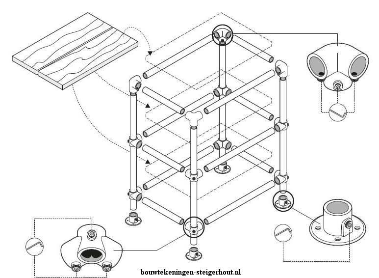 Doe het zelf bouwtekening om een keukenkastje te maken van steigerbuis ...