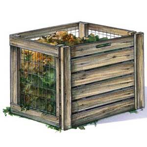 Compostbakken van pallets en kippengaas.