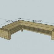 Hoekbank van steigerplanken om zelf te bouwen, maat 240x340cm.