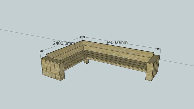 Hoekbank voor een steigerhout loungeset bouwtekening for Loungeset steigerhout zelf maken