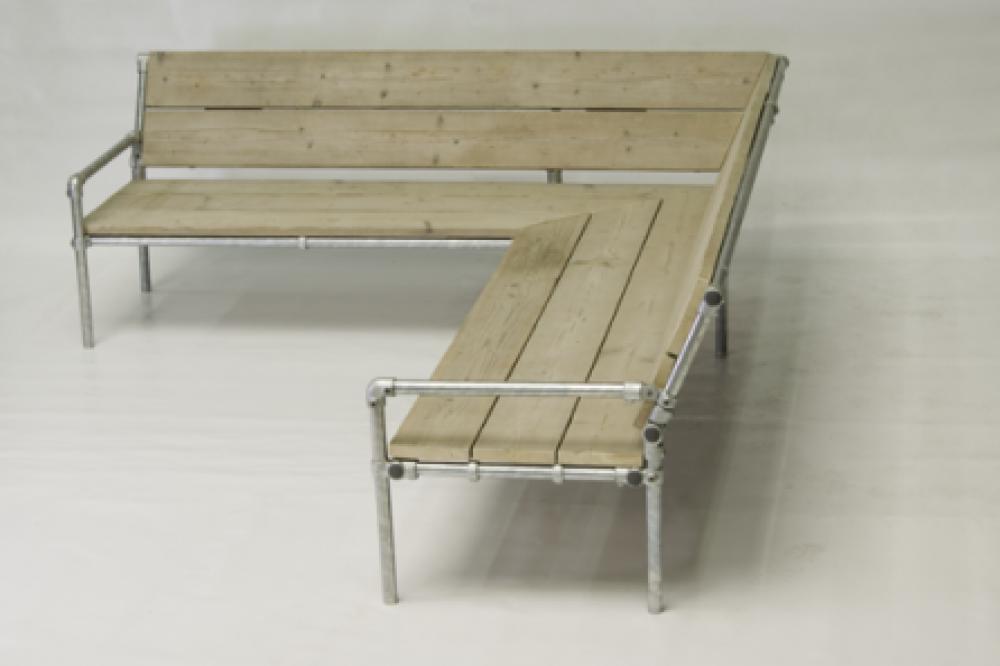 Hoekbank om zelf te maken van steigerbuizen Steigerhouten tafel met steigerbuizen zelf maken