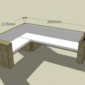 Steigerhout tuinset bouwen, bouwtekening voor een hoekbank XL.