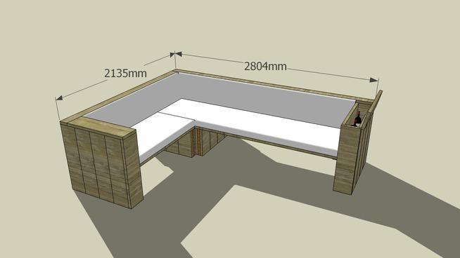 Hoekbank maken van steigerhout loungeset op bouwtekening.