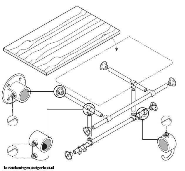Kapstok maken steigerbuis en steigerhout bouwtekening for Maak een kledingkast