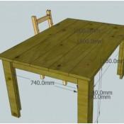 Maak zelf een keukentafel van steigerhout met deze eenvousdige bouwtekening.