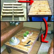 Doe het zelf pallet tafel als salontafel.
