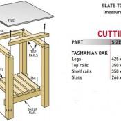 Hoe je zelf een vierkante tafel kunt maken, voorbeeld van een tafel met natuursteen als tafelblad.