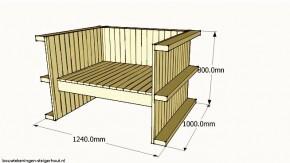 Pallet loungestoel, gratis bouwtekening voor stoelen van een pallet.
