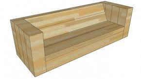 Loungebank van steigerhout voor drie personen.
