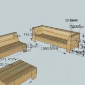 Loungebanken van steigerhout op 3D bouwtekening met een lage tuintafel.