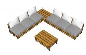 Loungeset bouwtekening om zelf te maken van pallets for Loungeset steigerhout zelf maken