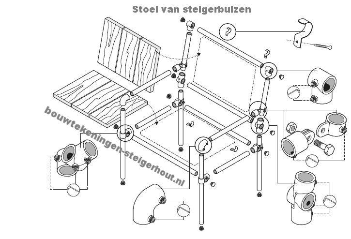 Stoel maken van steigerbuizen.