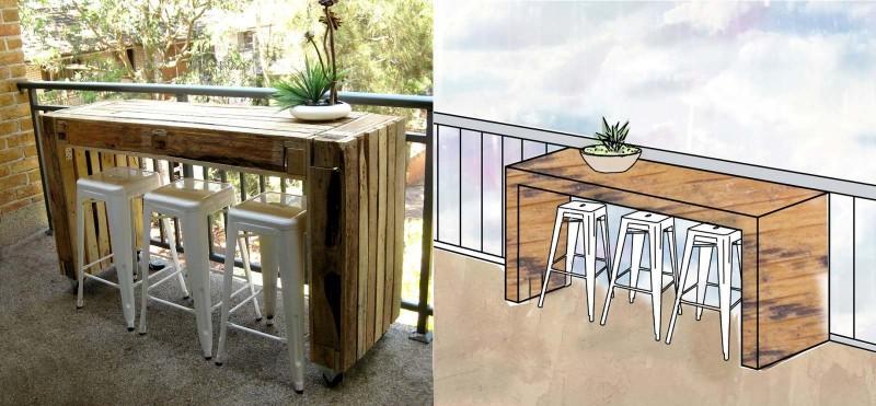 Hoge tafel van pallets voor gebruik met barkrukken.