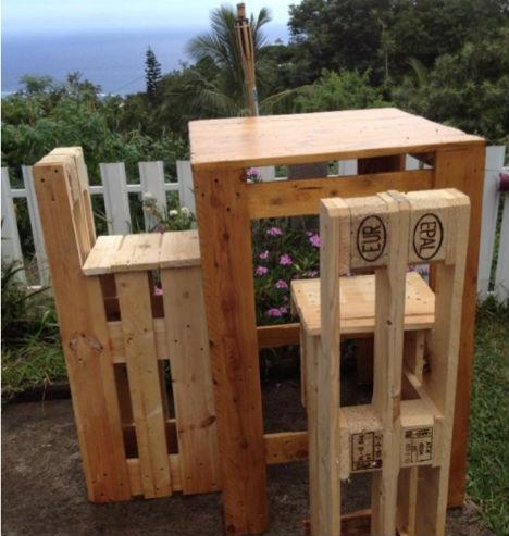 Maak zelf barkrukken en hoge tafel van slooppallethout.