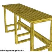 Doe het zelf bouwtekening voor een pallet bar en verkoopruimte.