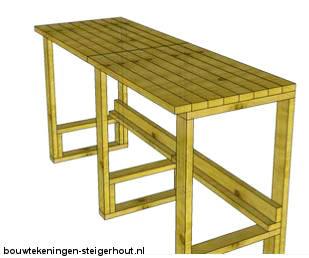 Doe het zelf bouwtekening voor een palletbar en verkoopruimte.