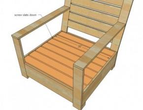 Lounge tuinstoel van steigerhout of pallets op bouwtekening.