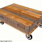 Deze pallettafel op wielen kan gemakkelijk worden gemaakt van twee pallets en vier zwenkwielen.