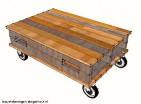 Deze koffietafel op wielen kan gemakkelijk worden gemaakt van twee pallets en vier zwenkwielen.