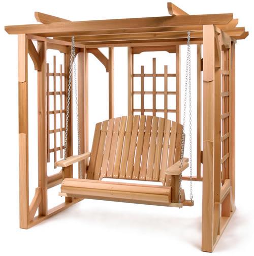 Maak dit tuinprieel met schommel zelf van steigerhout en planken van pallets.