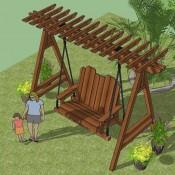Doe het zelf bouwtekening voor een steigerhouten schommel - Bank voor pergola ...